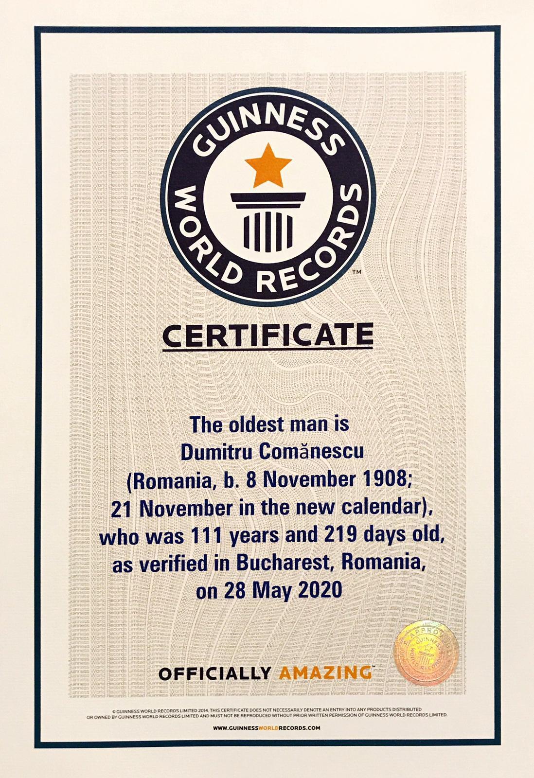 Certificat GUINNESS WORLD RECORDS DUMITRU COMANESCU
