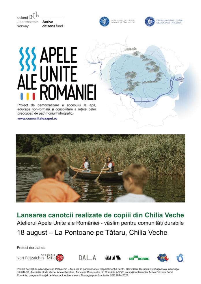 Afis lansare la apa canotca realizata de copiii din Chilia Veche Atelier Apele Unite 2021